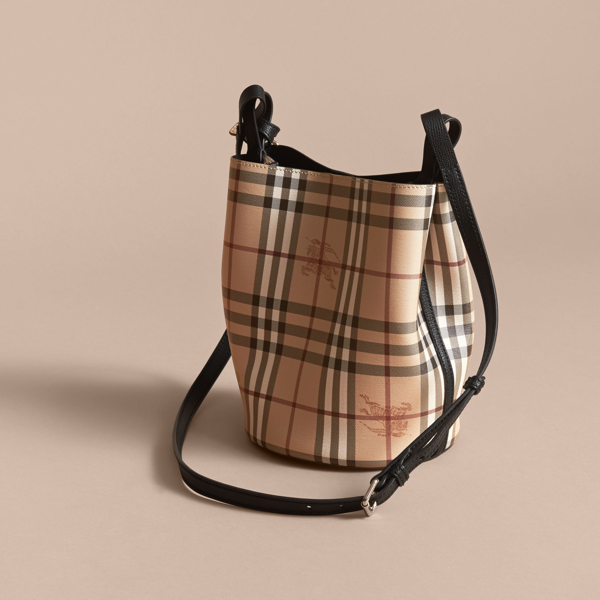 Leather and Haymarket Check Crossbody Bucket Bag in Black - Women | Burberry - gallery image 3
