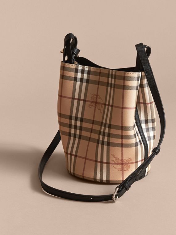 Leather and Haymarket Check Crossbody Bucket Bag in Black - Women | Burberry - cell image 3