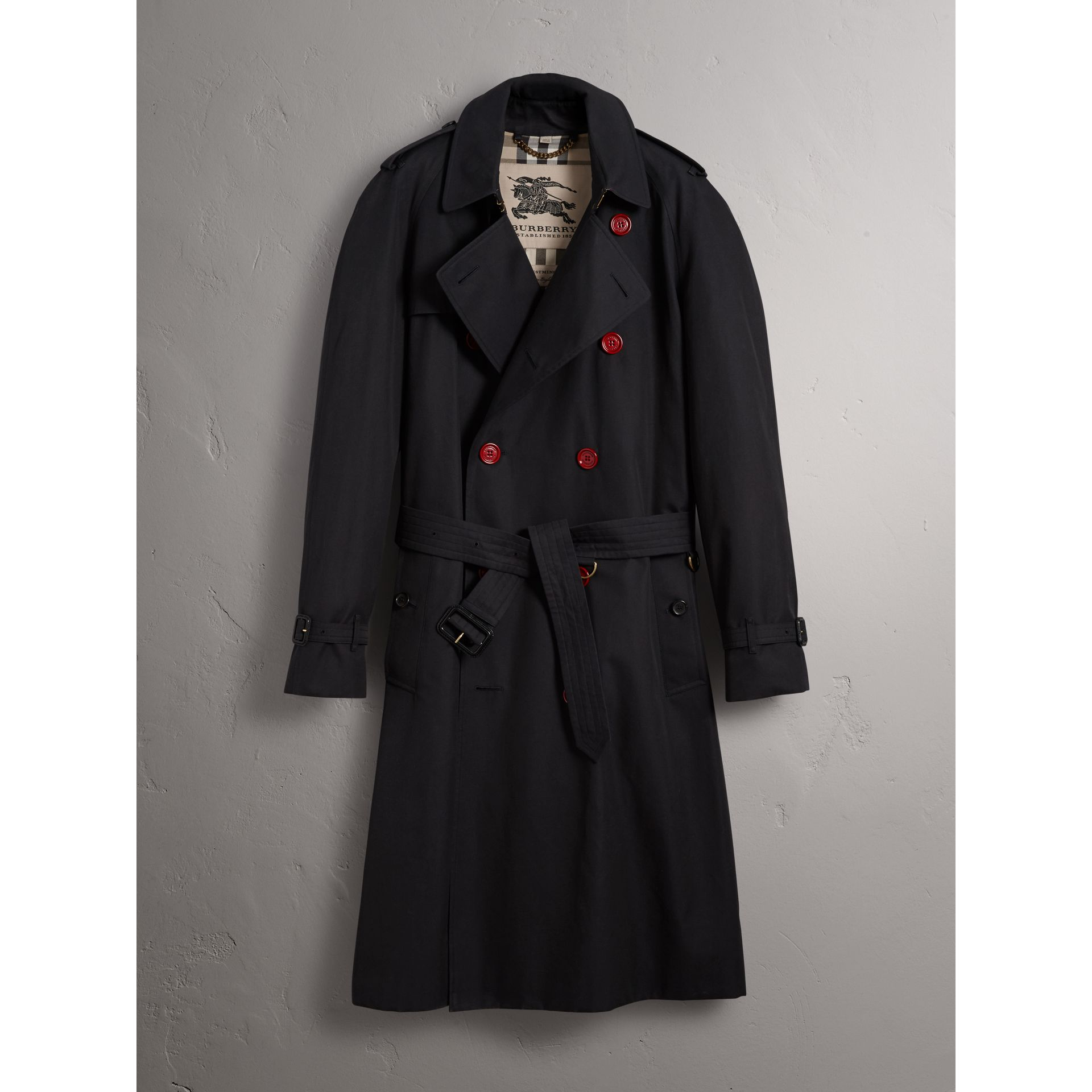 Extra-long Resin Button Cotton Gabardine Trench Coat in Navy - Men | Burberry - gallery image 4