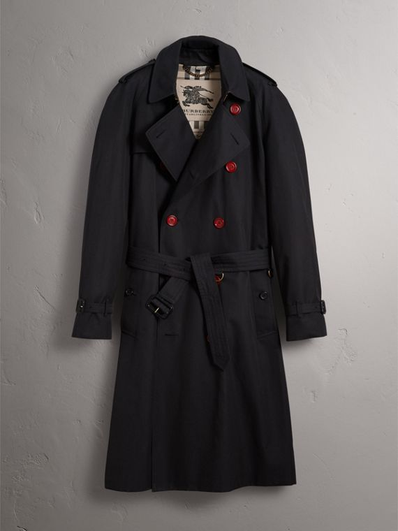 Extra-long Resin Button Cotton Gabardine Trench Coat in Navy - Men | Burberry - cell image 3