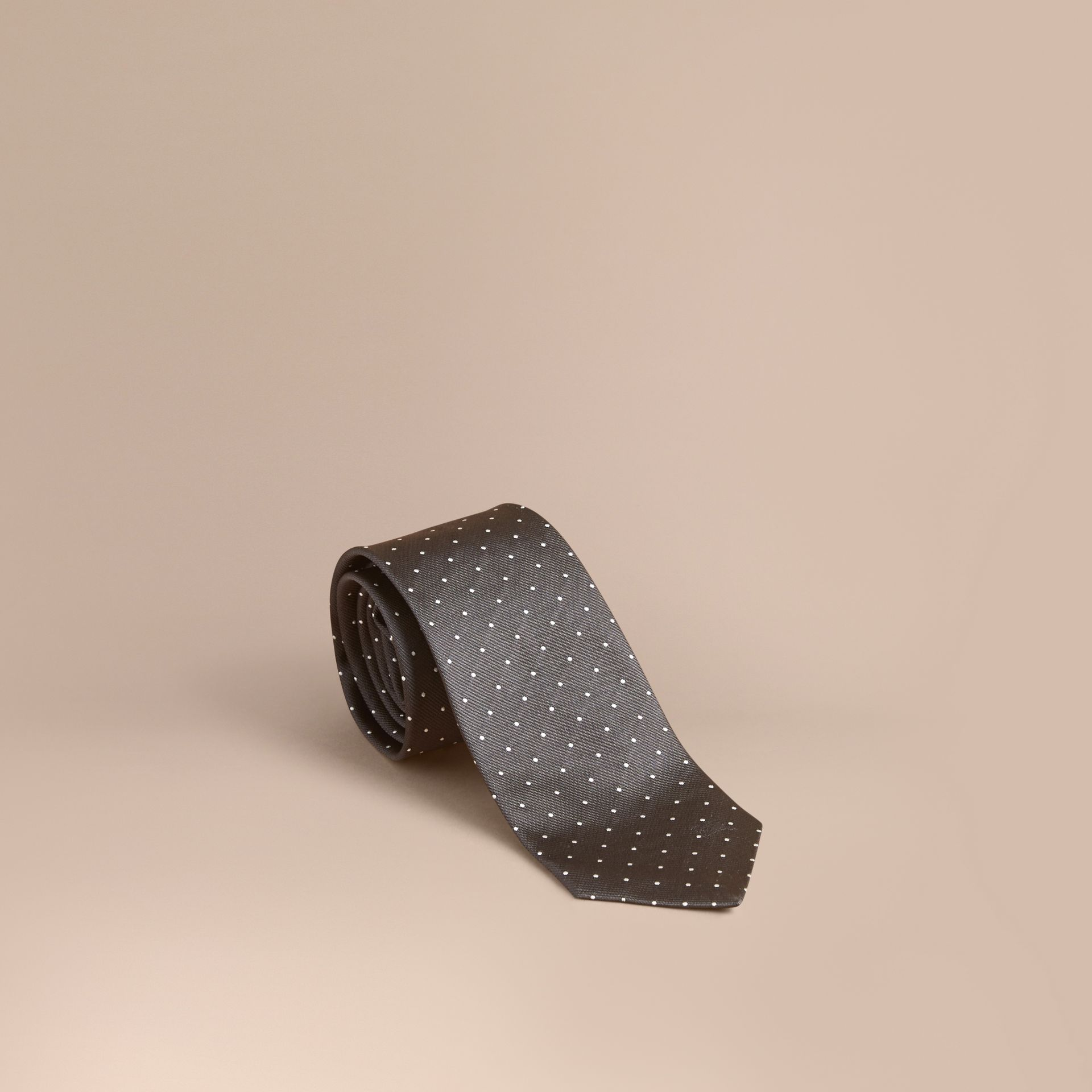 Modern Cut Polka Dot Silk Tie Charcoal - gallery image 1