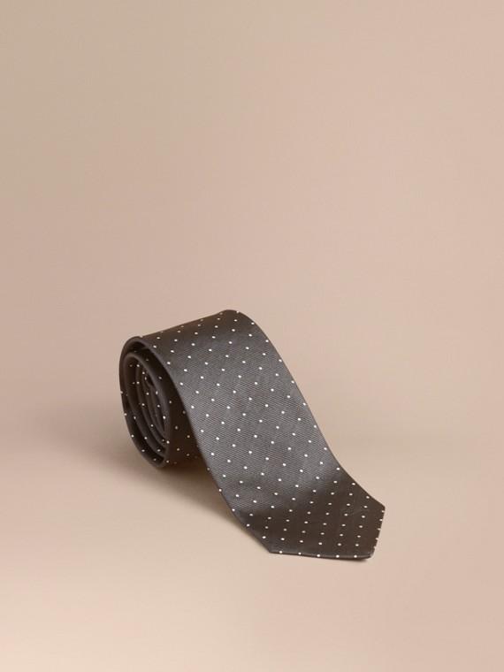 Modern Cut Polka Dot Silk Tie in Charcoal