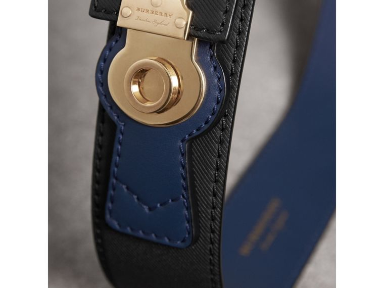Two-tone Trench Leather Belt in Black / Ink Blue - Women | Burberry United Kingdom - cell image 1