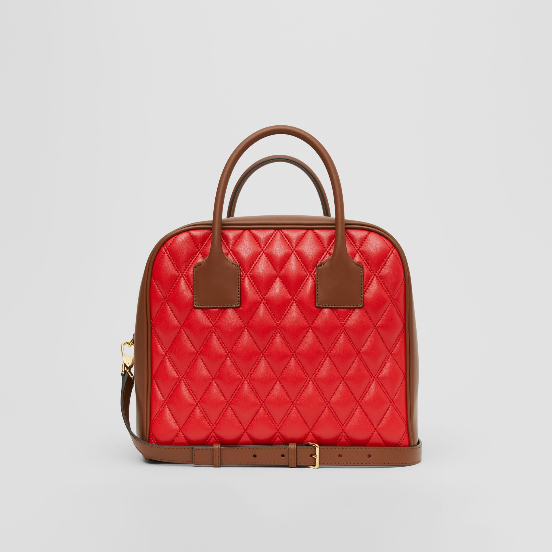Medium Quilted Lambskin Cube Bag in Bright Red - Women | Burberry United Kingdom - gallery image 5