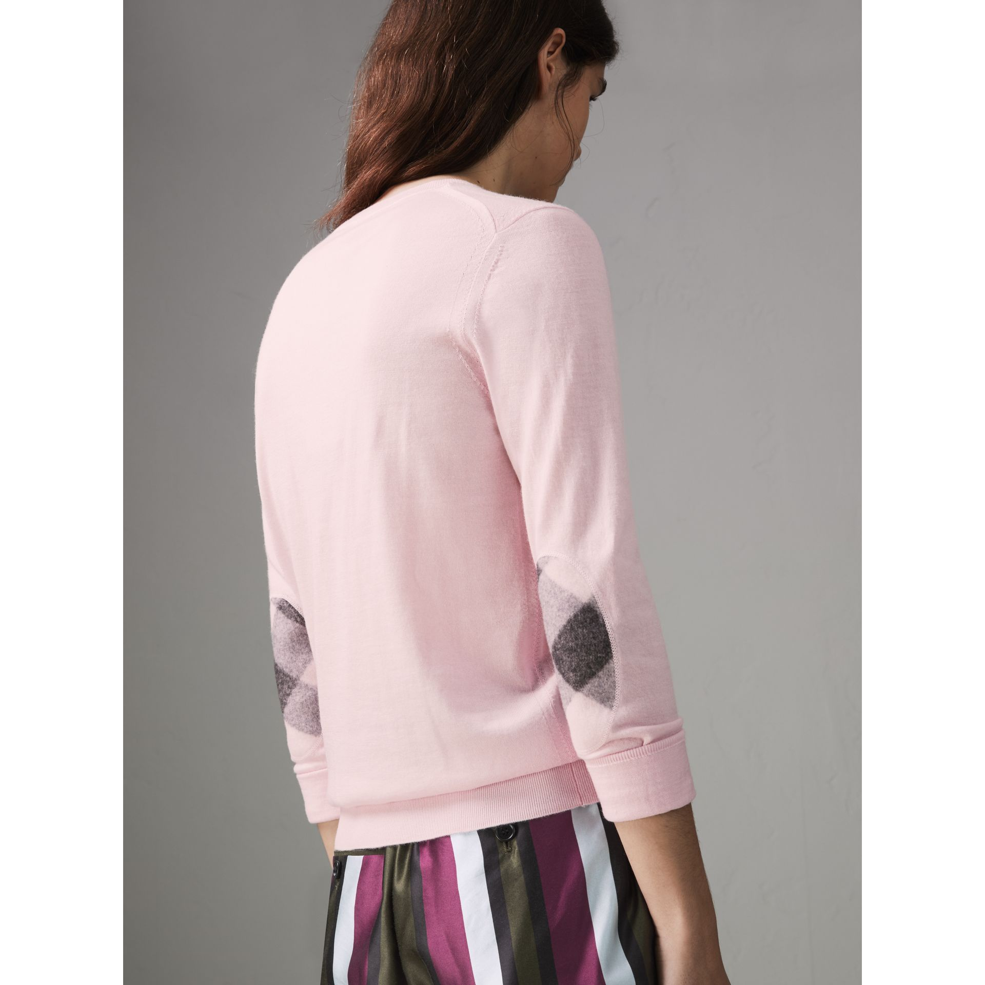Check Elbow Detail Merino Wool Sweater in Light Pink - Women | Burberry - gallery image 2