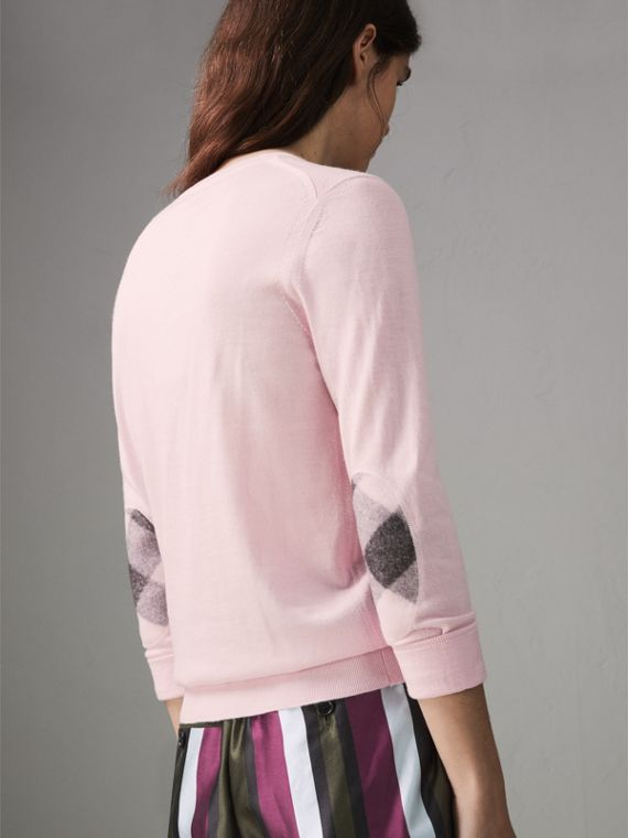 Check Elbow Detail Merino Wool Sweater in Light Pink - Women | Burberry United States - cell image 2