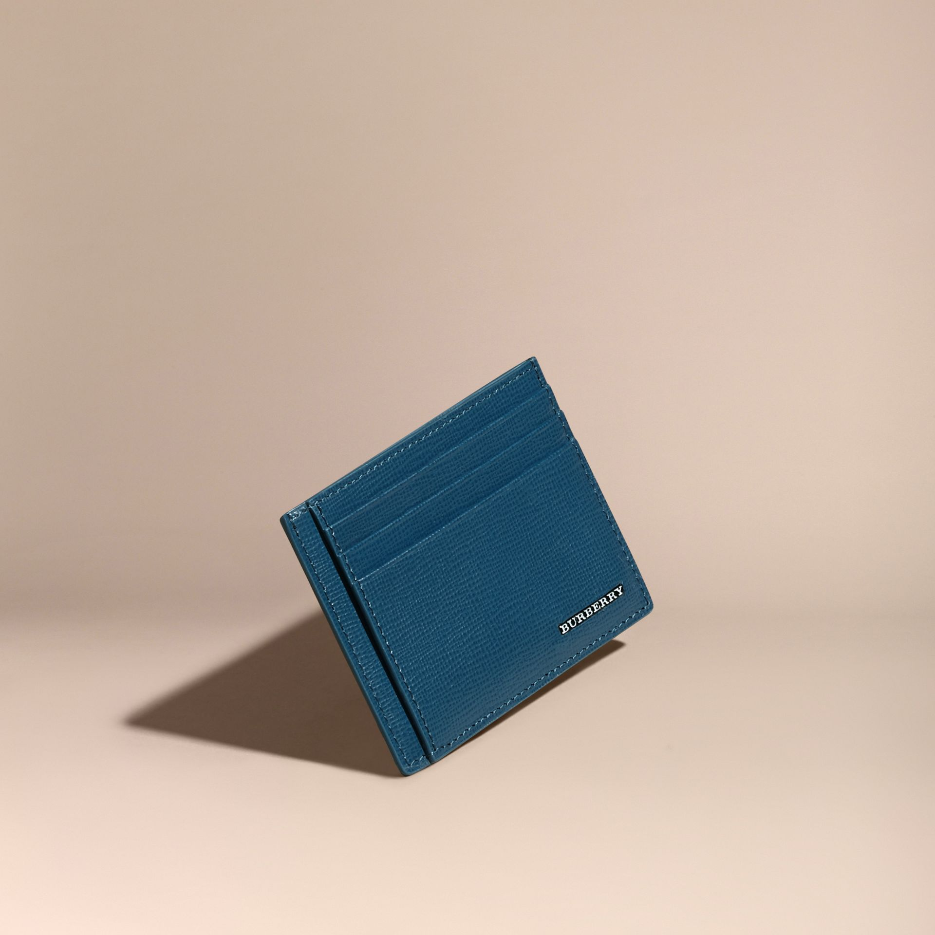 Porte-cartes en cuir London Bleu Minéral - photo de la galerie 1