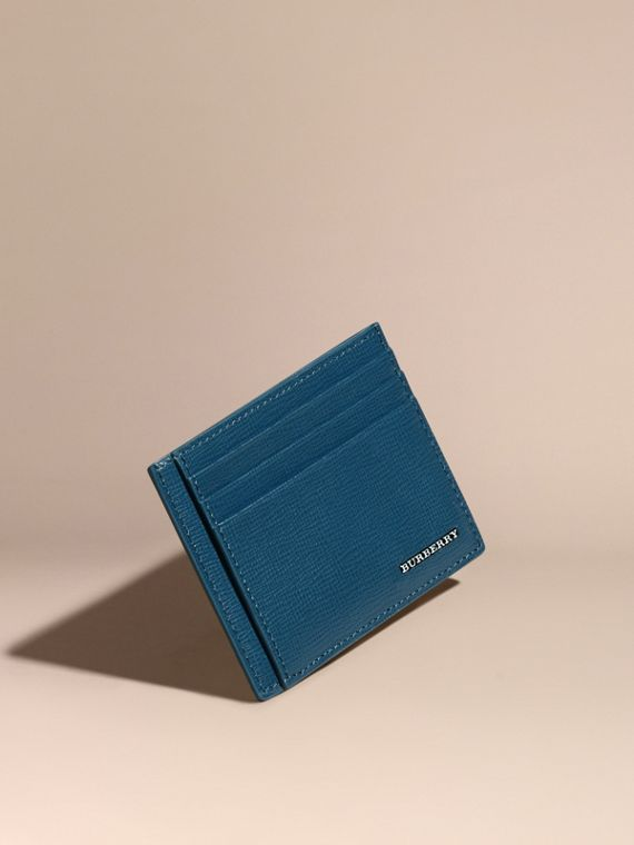 London Leather Card Case in Mineral Blue