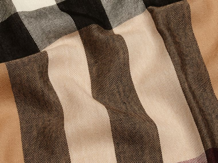 Camel Lightweight Check Wool Cashmere Scarf Camel - cell image 1
