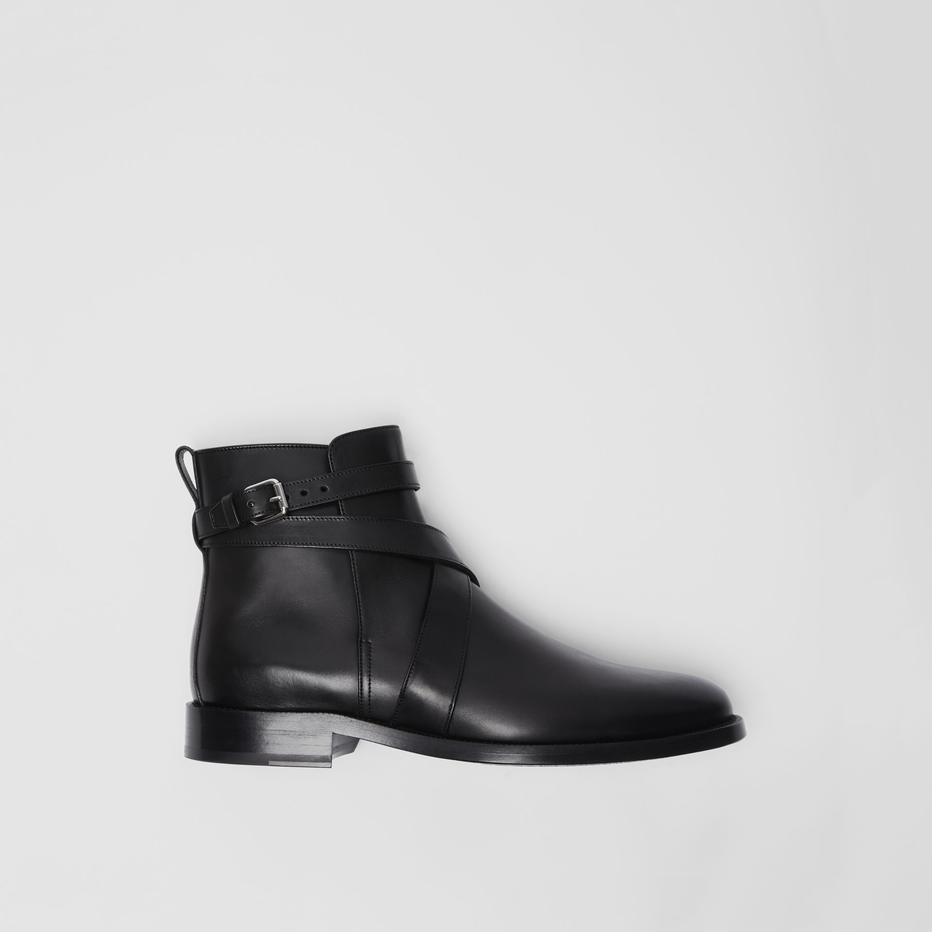 Strap Detail Leather Ankle Boots in Black - Men | Burberry - gallery image 0