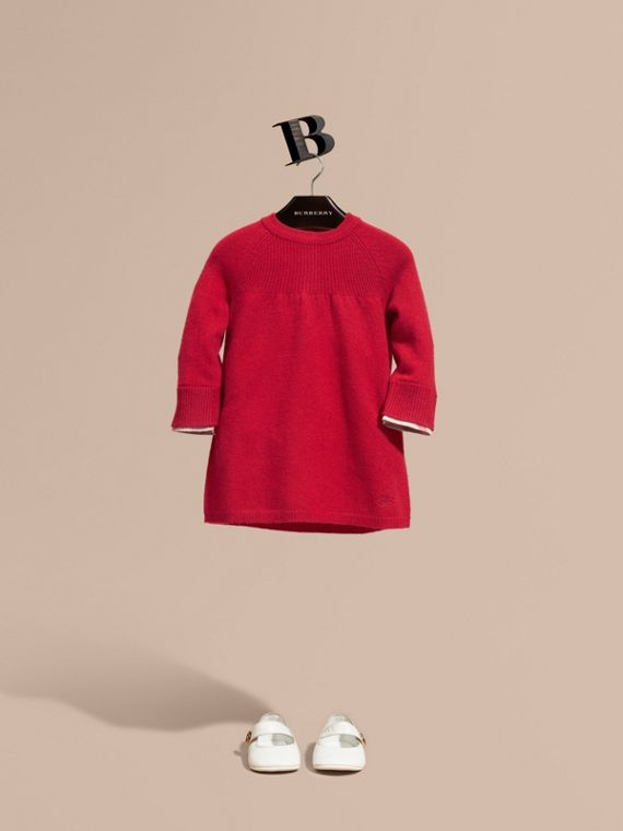 Check Cuff Knitted Cashmere Dress Parade Red
