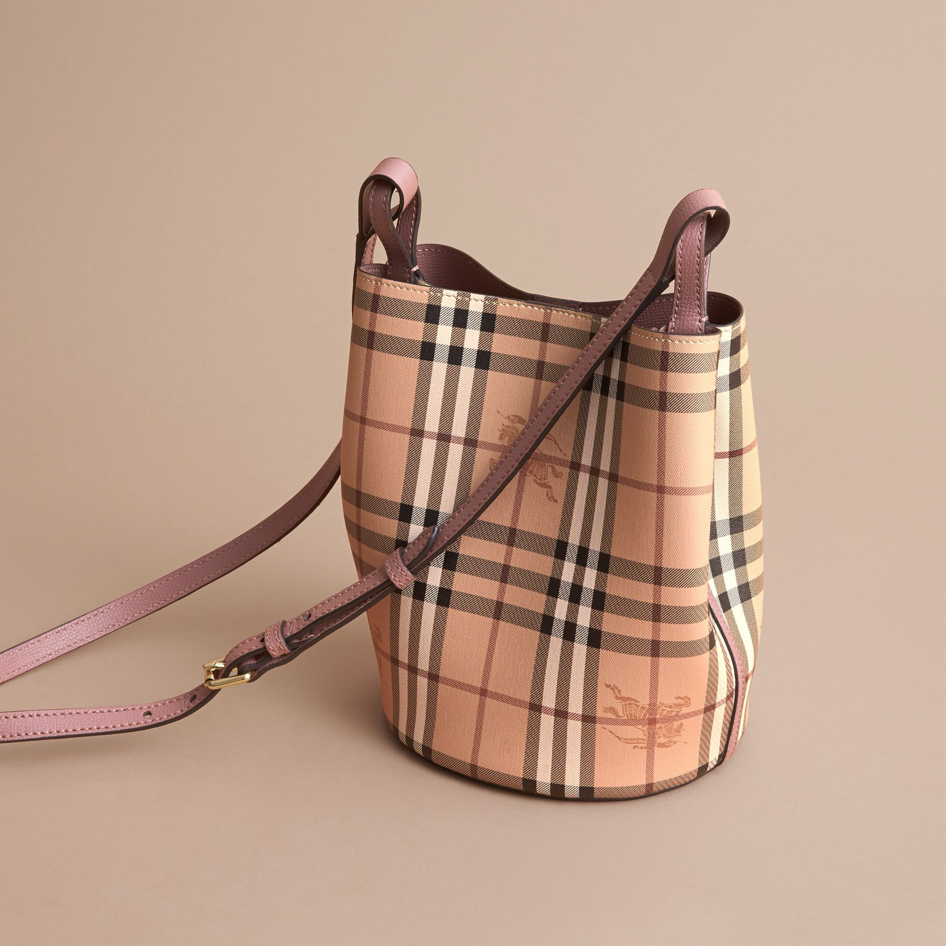 Leather and Haymarket Check Crossbody Bucket Bag in Light Elderberry - Women | Burberry - gallery image 4