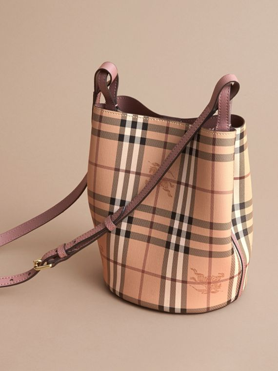 Leather and Haymarket Check Crossbody Bucket Bag in Light Elderberry - Women | Burberry - cell image 3