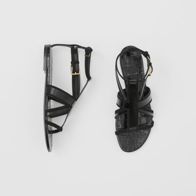Union Jack Motif Leather And Suede Sandals by Burberry