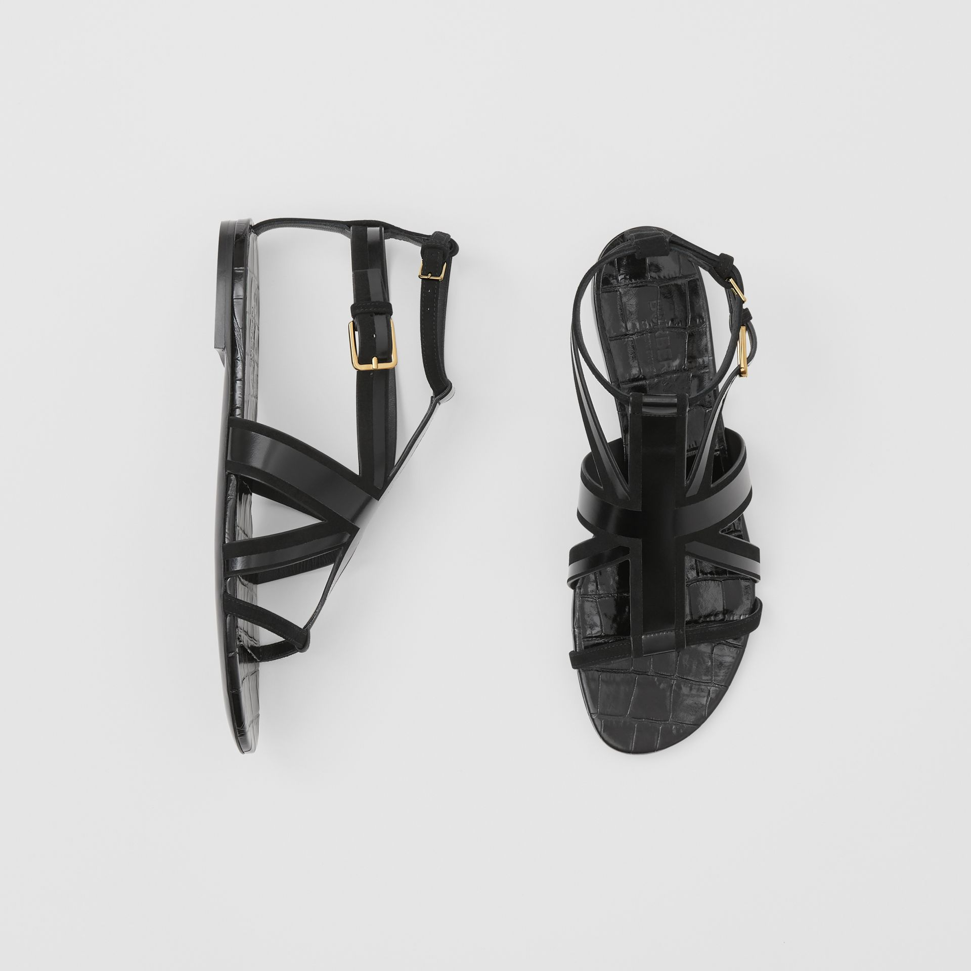 Union Jack Motif Leather and Suede Sandals in Black - Women | Burberry - gallery image 0