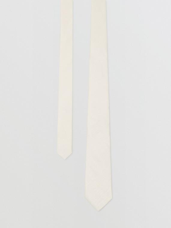 經典剪裁絲質莫列波紋提花領帶 (白色)