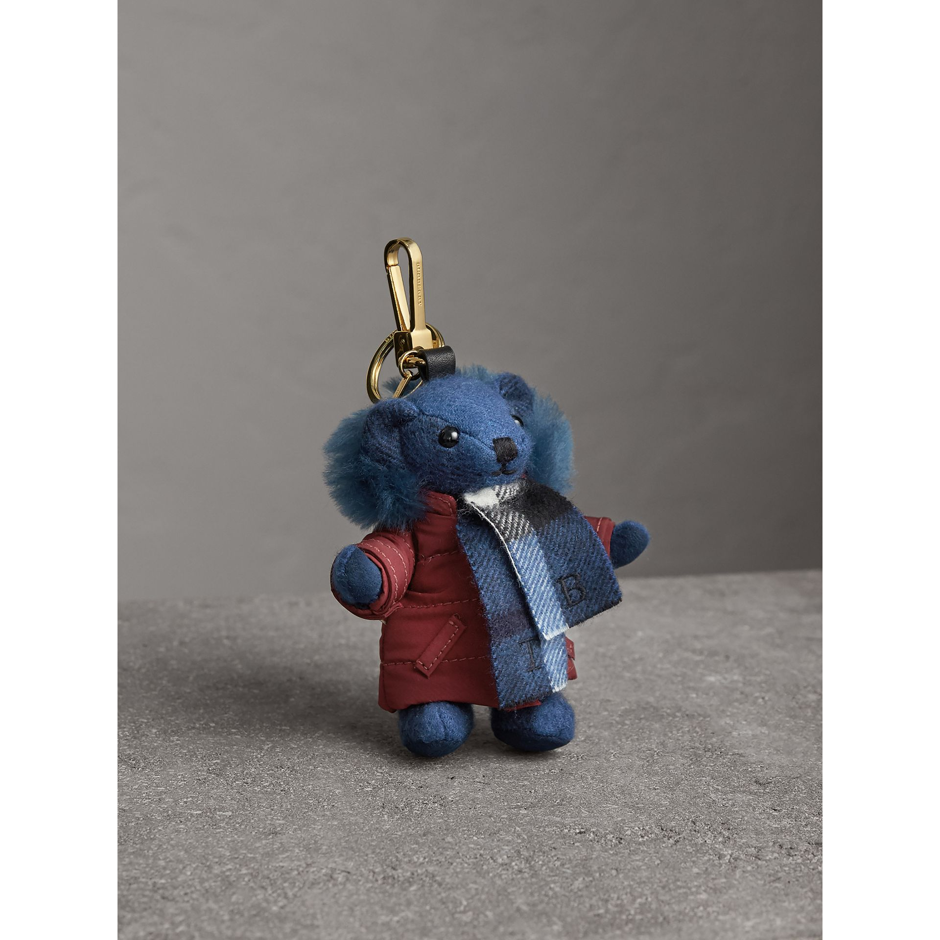 Thomas Bear Charm in Puffer Coat and Scarf in Cadet Blue - Women | Burberry - gallery image 0