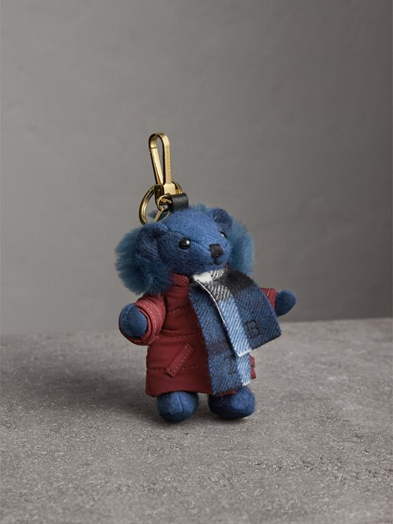Thomas Bear Charm in Puffer Coat and Scarf in Cadet Blue