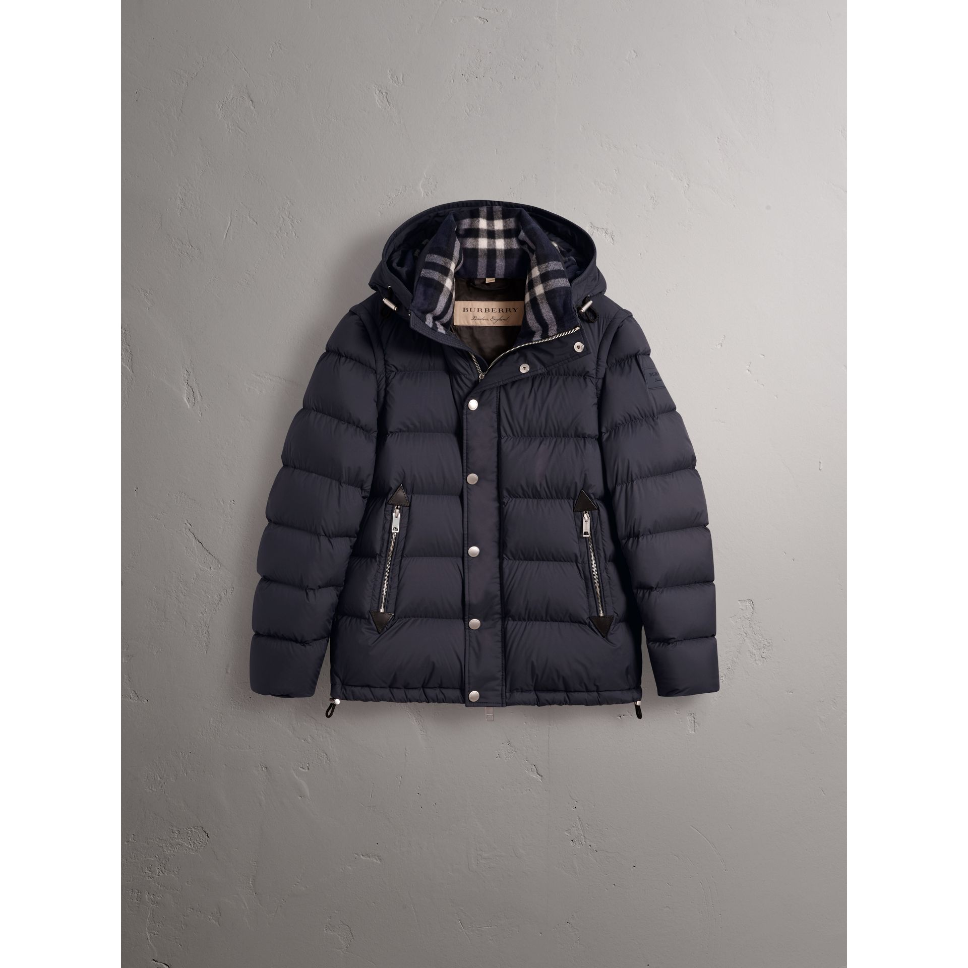 Detachable-sleeve Down-filled Puffer Jacket in Navy - Men | Burberry - gallery image 4