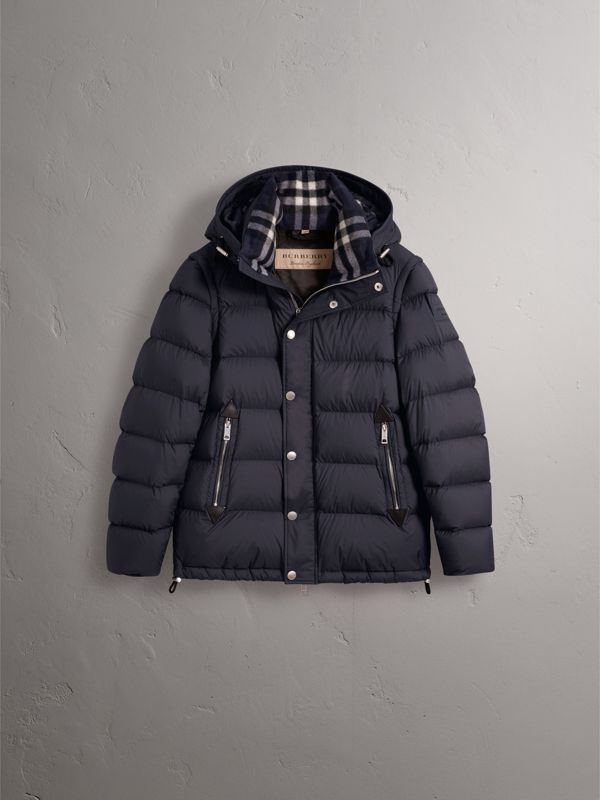 Detachable-sleeve Down-filled Puffer Jacket in Navy - Men | Burberry - cell image 3