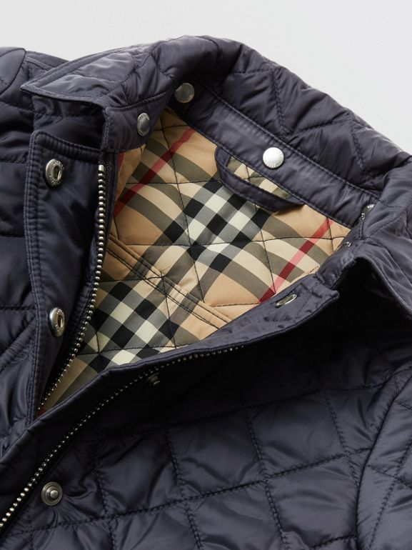 Detachable Hood Diamond Quilted Jacket in Navy - Children | Burberry - cell image 1