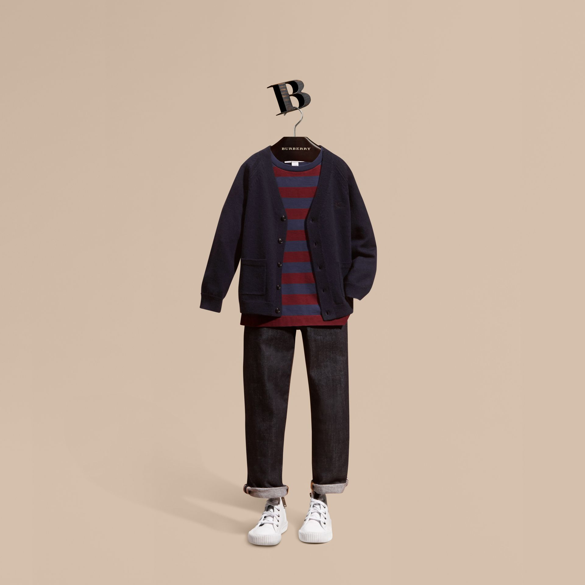 Check Detail Merino Wool Cardigan in Navy - Boy | Burberry United States - gallery image 1
