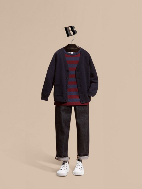 Check Detail Merino Wool Cardigan - Boy | Burberry