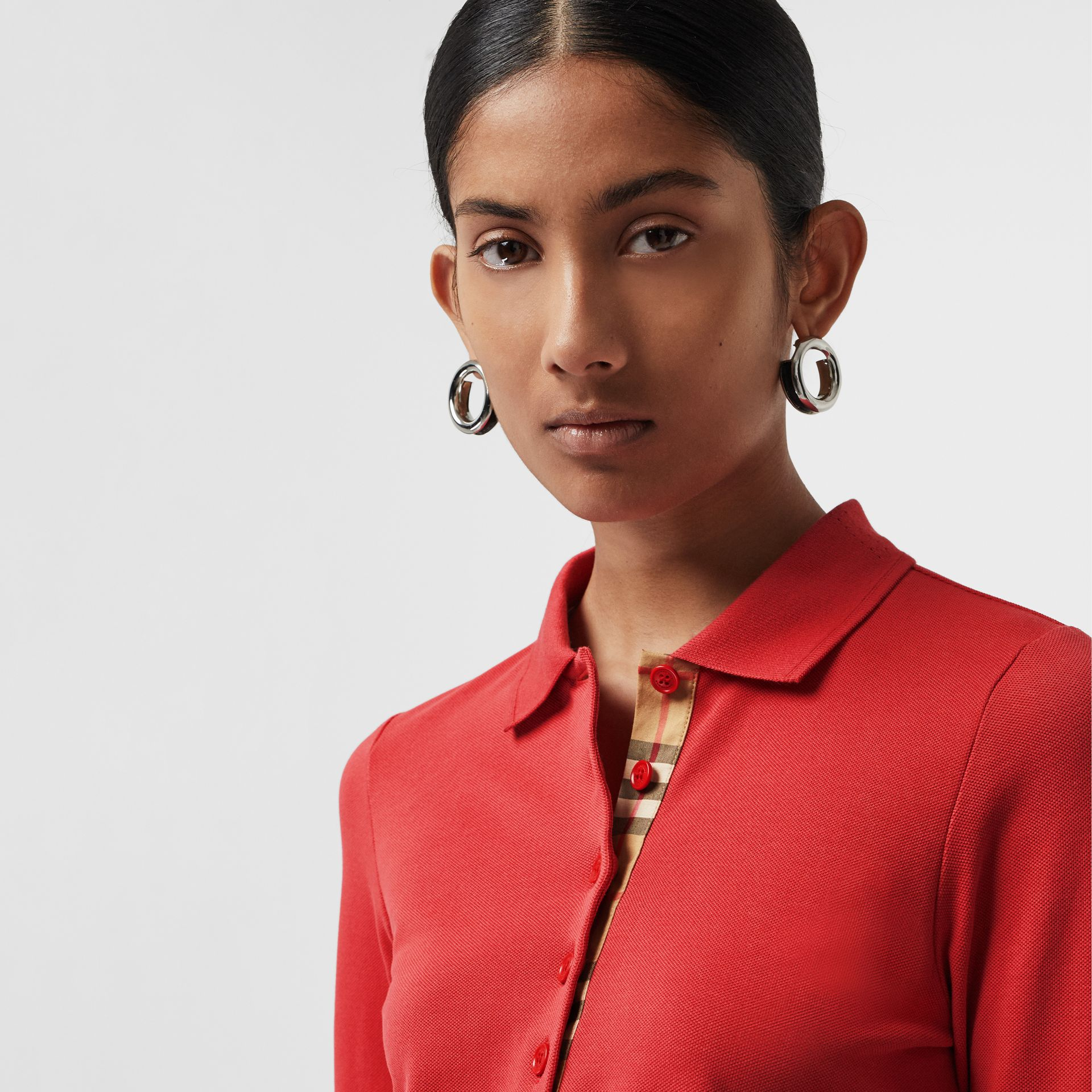 Long-sleeve Check Placket Cotton Piqué Polo Shirt in Bright Red - Women | Burberry United Kingdom - gallery image 1