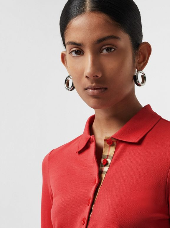 Long-sleeve Check Placket Cotton Piqué Polo Shirt in Bright Red - Women | Burberry United Kingdom - cell image 1