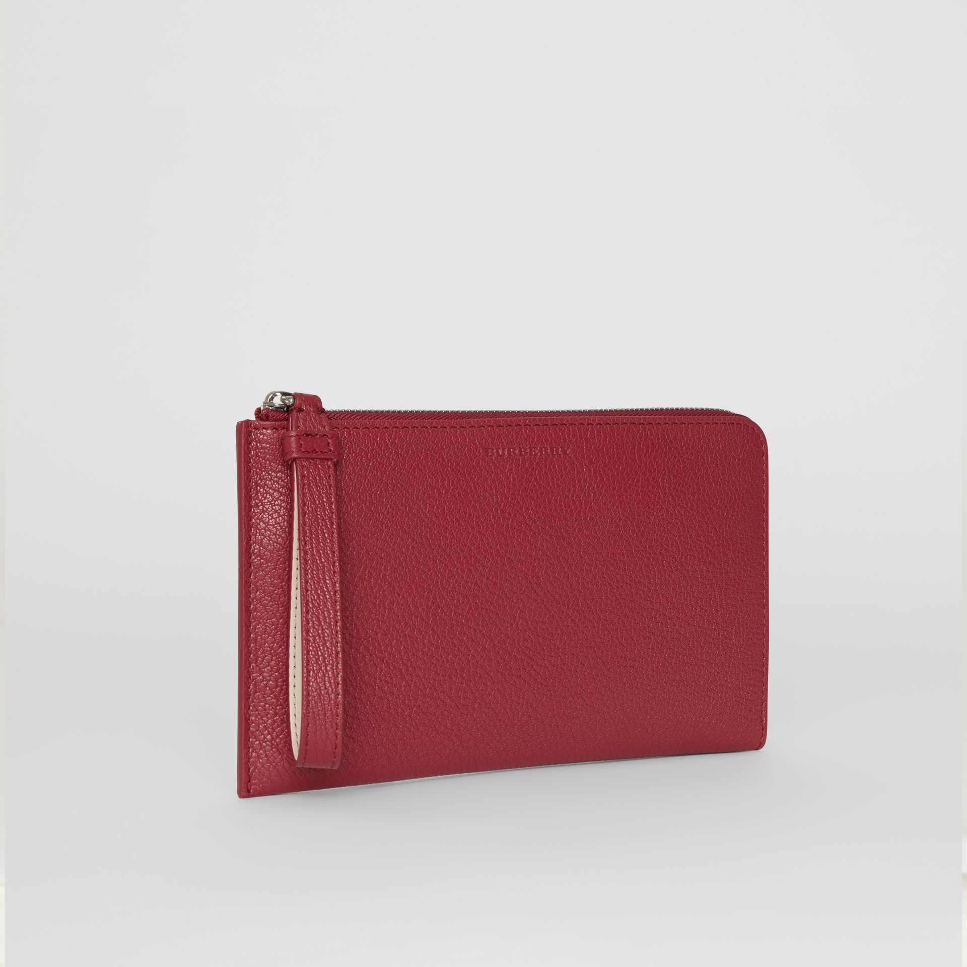 Two-tone Grainy Leather Travel Wallet in Crimson - Women | Burberry - gallery image 6