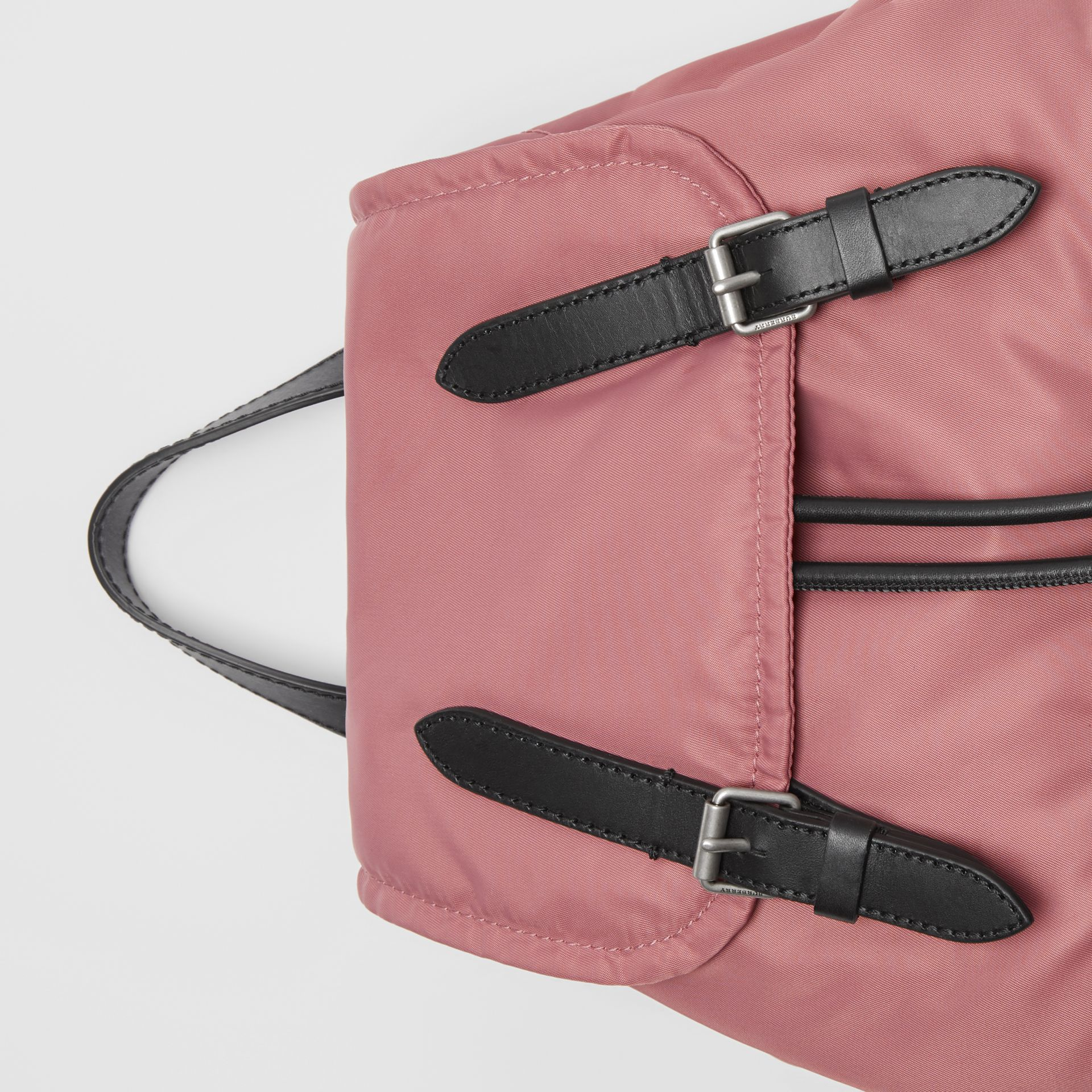 The Medium Rucksack in Puffer Nylon and Leather in Mauve Pink - Women | Burberry - gallery image 1
