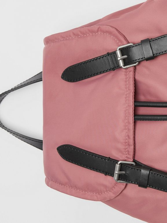 The Medium Rucksack in Puffer Nylon and Leather in Mauve Pink - Women | Burberry United Kingdom - cell image 1