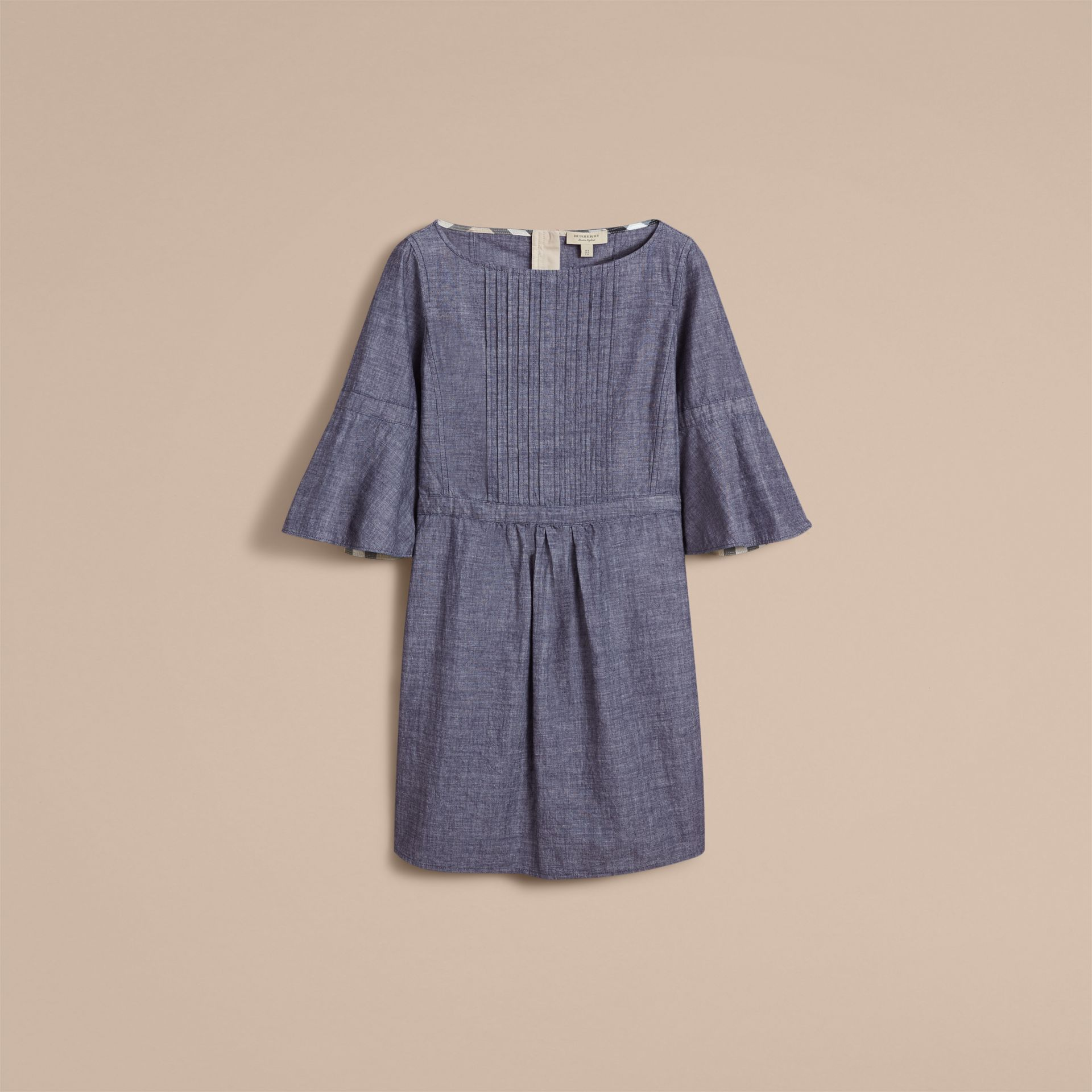 Bell Sleeve Cotton Chambray Dress with Check Detail - gallery image 4