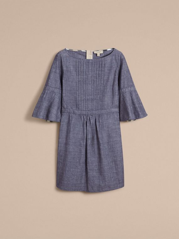 Bell Sleeve Cotton Chambray Dress with Check Detail - cell image 3