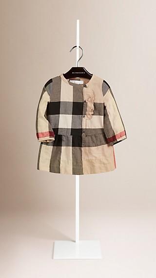 Frill Detail Check Cotton Dress