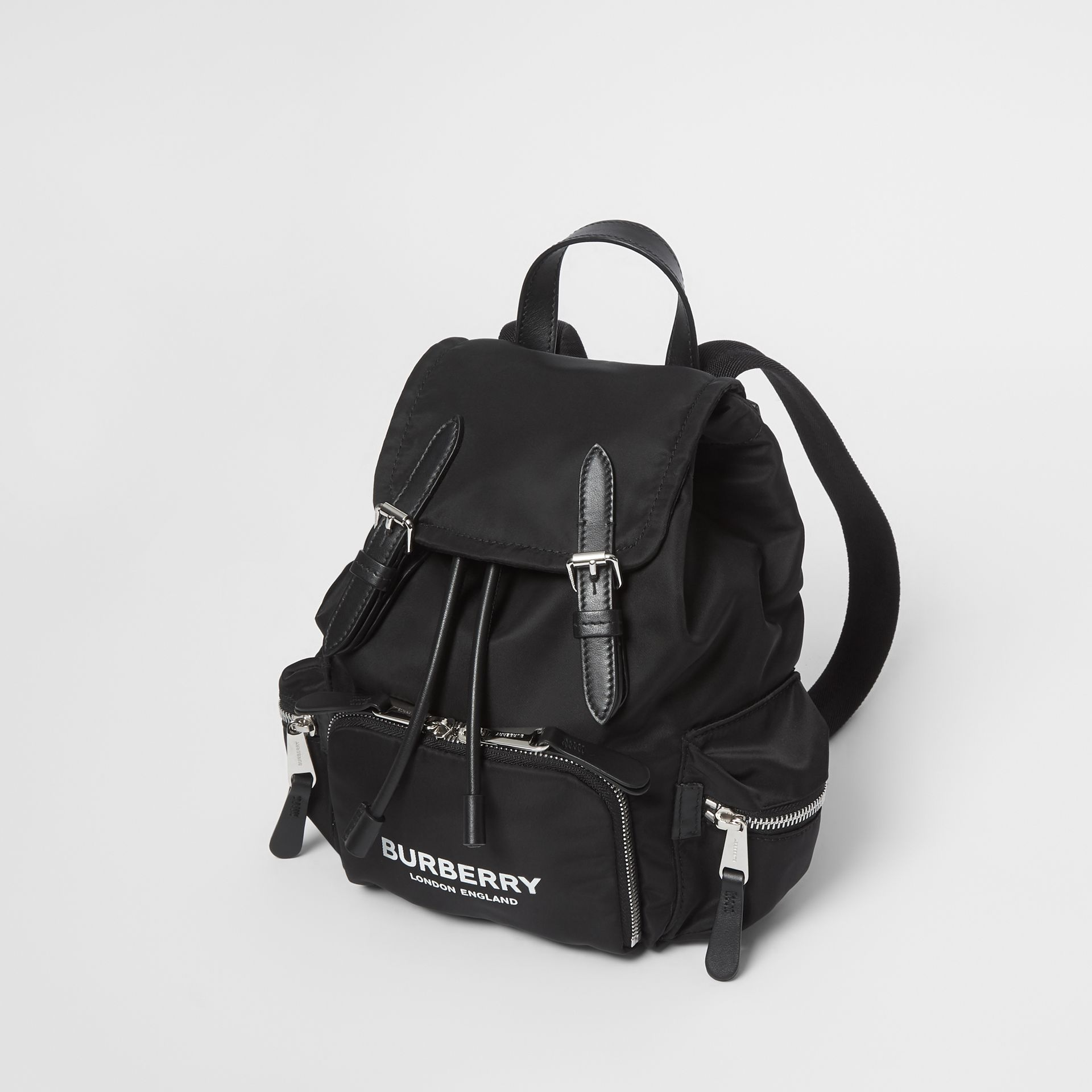 The Small Rucksack in Logo Print Nylon in Black - Women | Burberry - gallery image 3