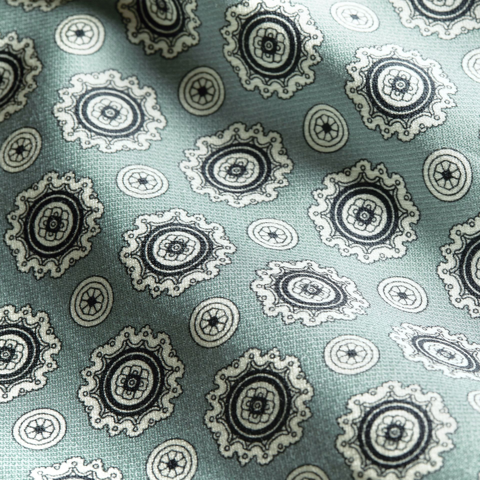 Helles steinblau Hose aus Baumwollseide im Pyjamastil mit kürzerer Beinlänge und Pyjamadruck Helles Steinblau - Galerie-Bild 2