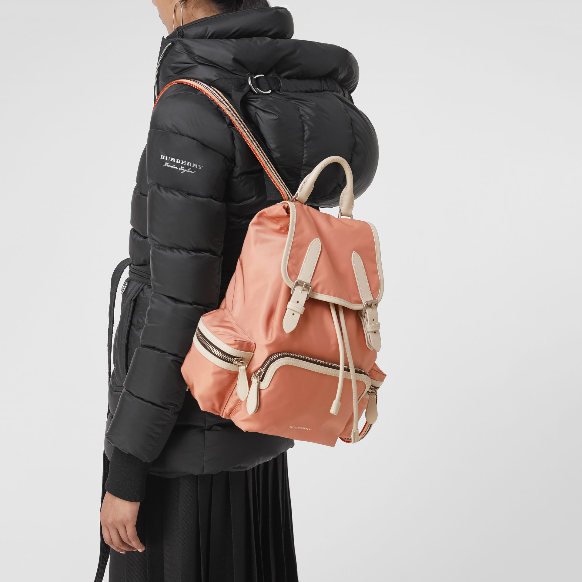 The Medium Rucksack in Technical Nylon and Leather in Pink - Women | Burberry United Kingdom - gallery image 3