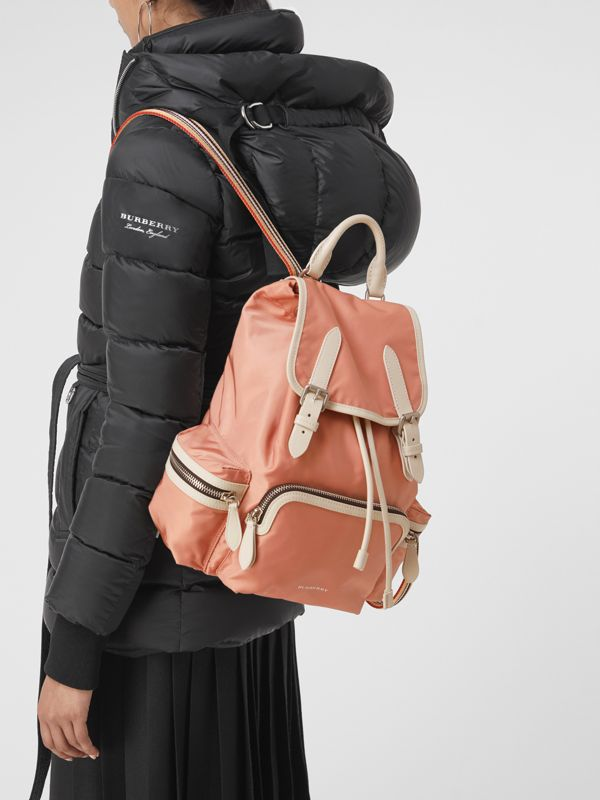 The Medium Rucksack in Technical Nylon and Leather in Pink - Women | Burberry - cell image 3