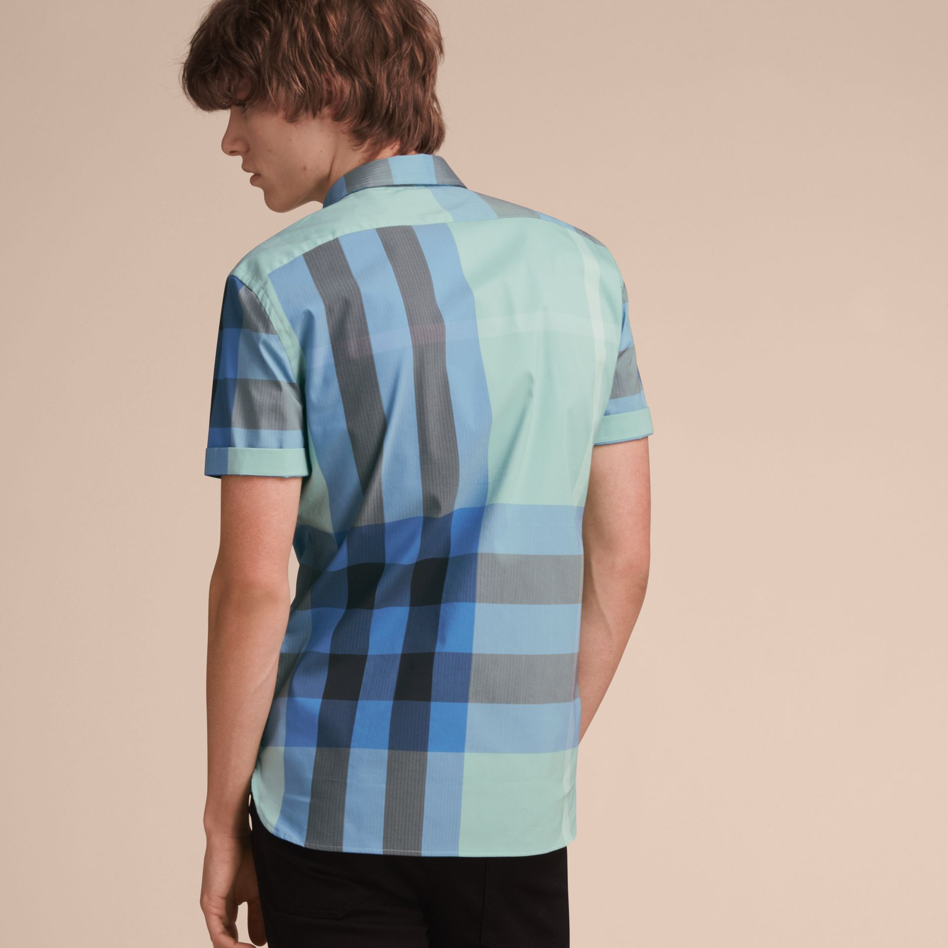 Short-sleeve Check Stretch Cotton Blend Shirt in Pale Opal - Men | Burberry - gallery image 3
