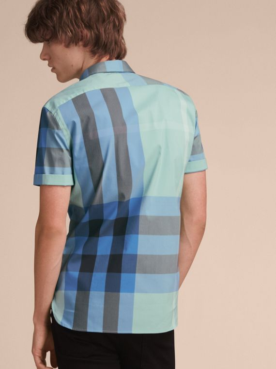 Short-sleeve Check Stretch Cotton Blend Shirt in Pale Opal - Men | Burberry - cell image 2