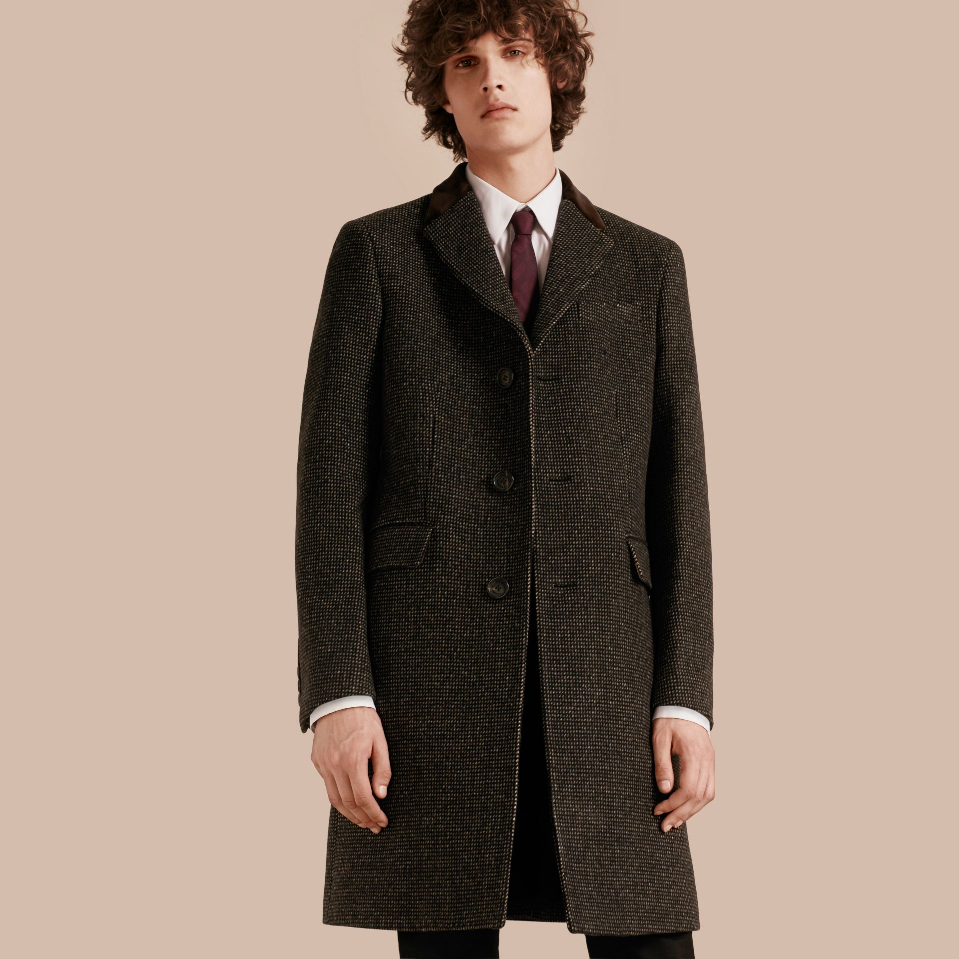 Mid camel Velvet Collar Tailored Wool Blend Coat - gallery image 1