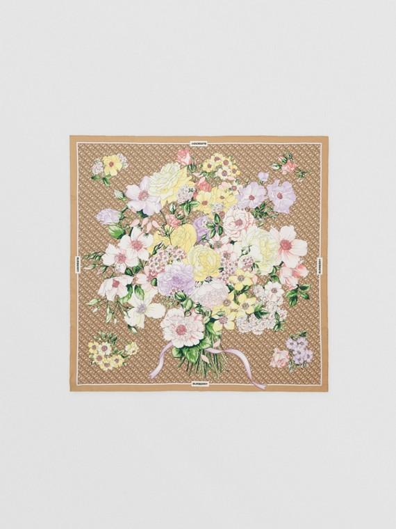 花朵及花押字印花絲綢方巾 (典藏米色)