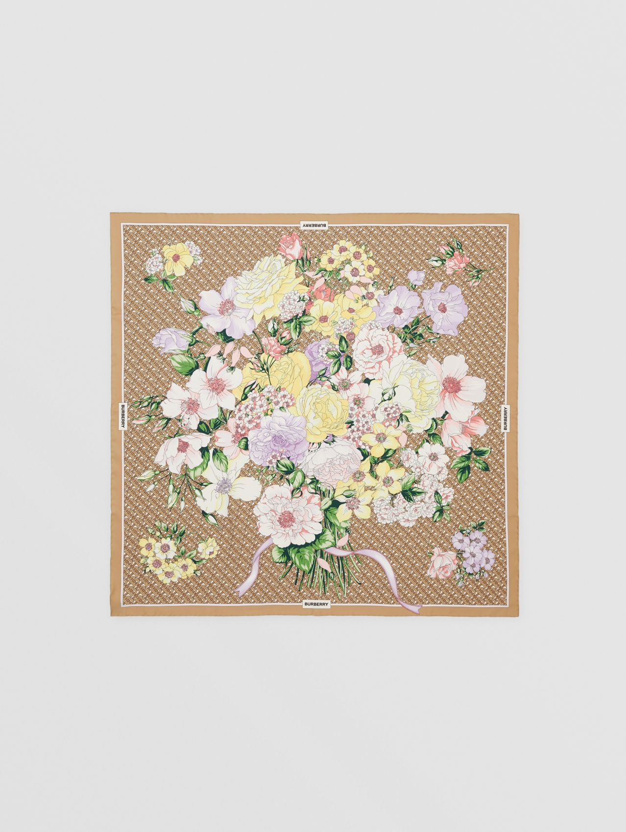 Floral and Monogram Print Silk Square Scarf in Archive Beige