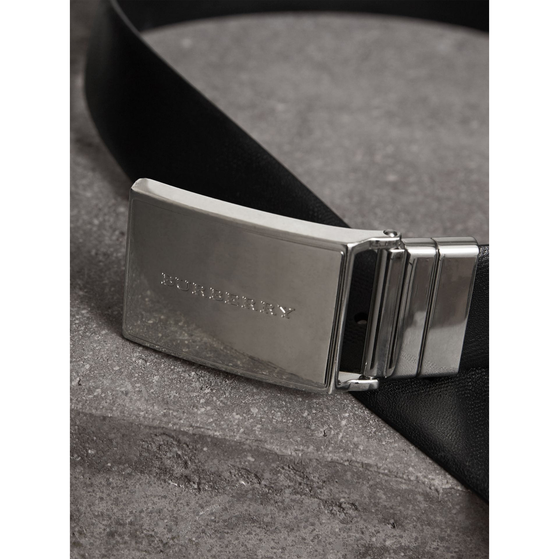 Reversible Check Embossed Leather Belt in Black - Men | Burberry Singapore - gallery image 2