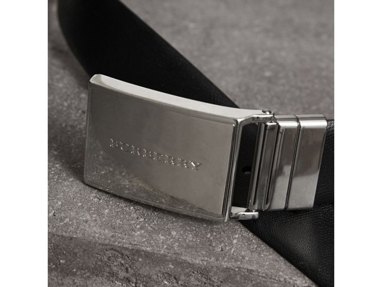 Reversible Check Embossed Leather Belt in Black - Men | Burberry - cell image 1