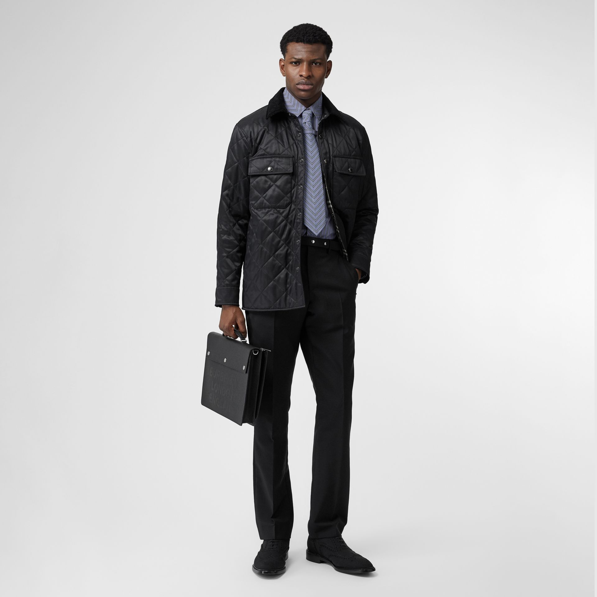 Diamond Quilted Thermoregulated Overshirt in Black - Men | Burberry - gallery image 0