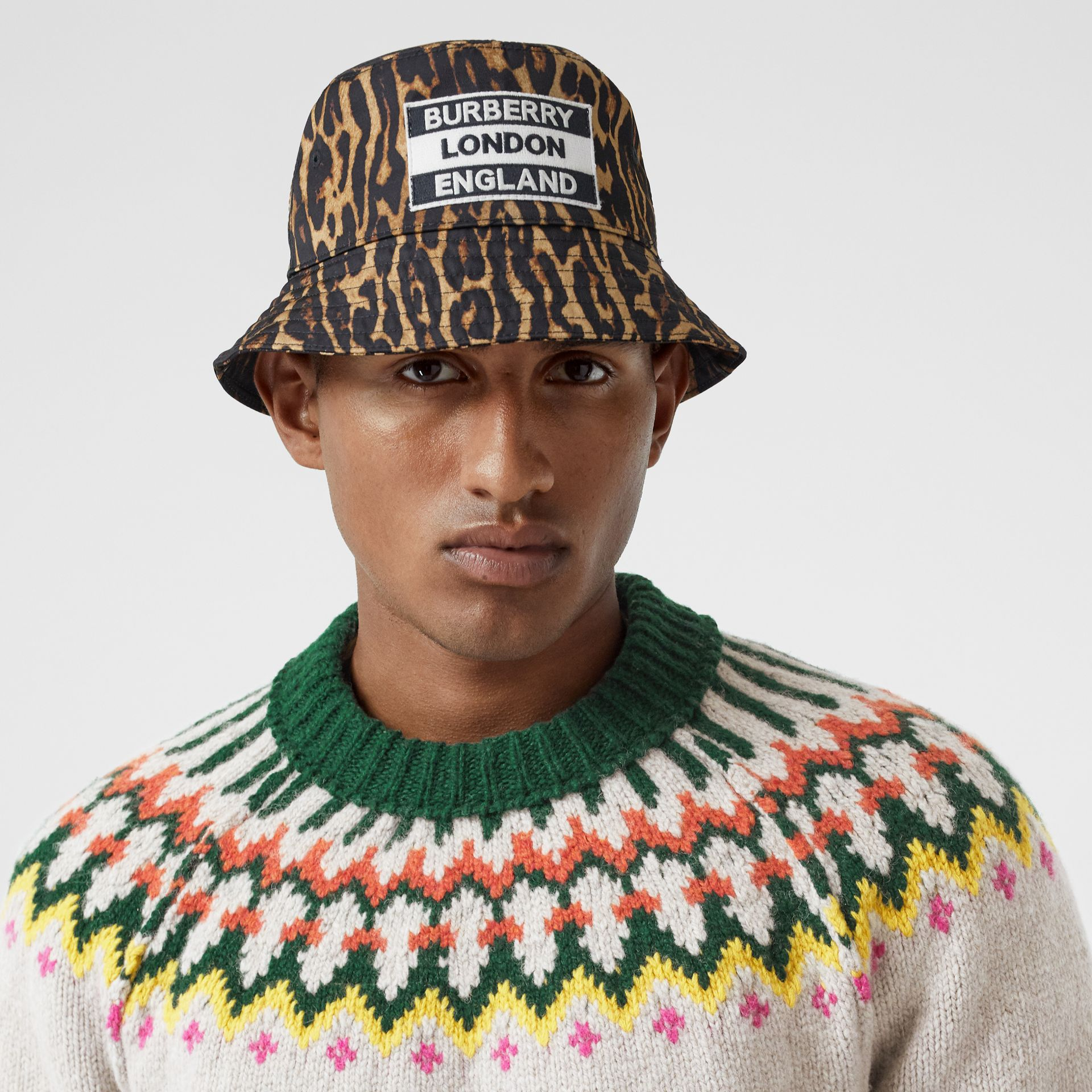 Reversible Logo Appliqué Leopard Print Bucket Hat | Burberry Singapore - gallery image 3