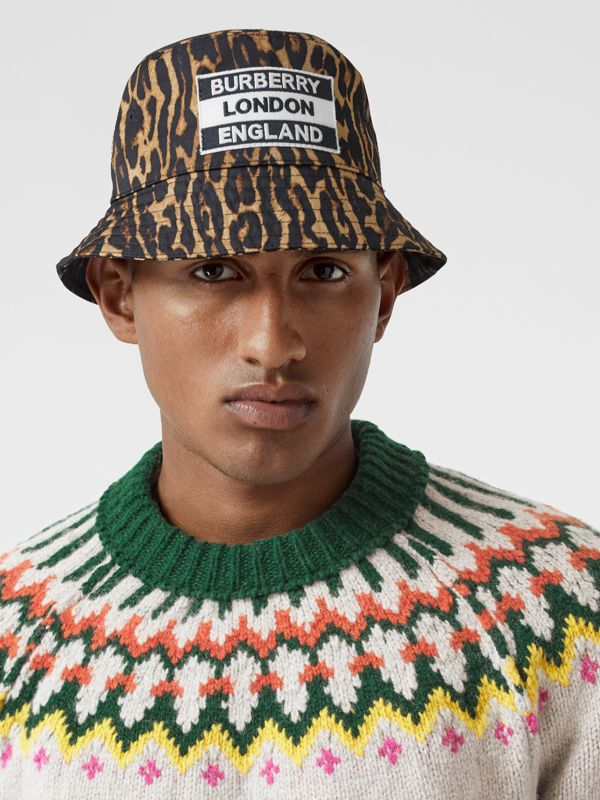 Reversible Logo Appliqué Leopard Print Bucket Hat | Burberry Singapore - cell image 3