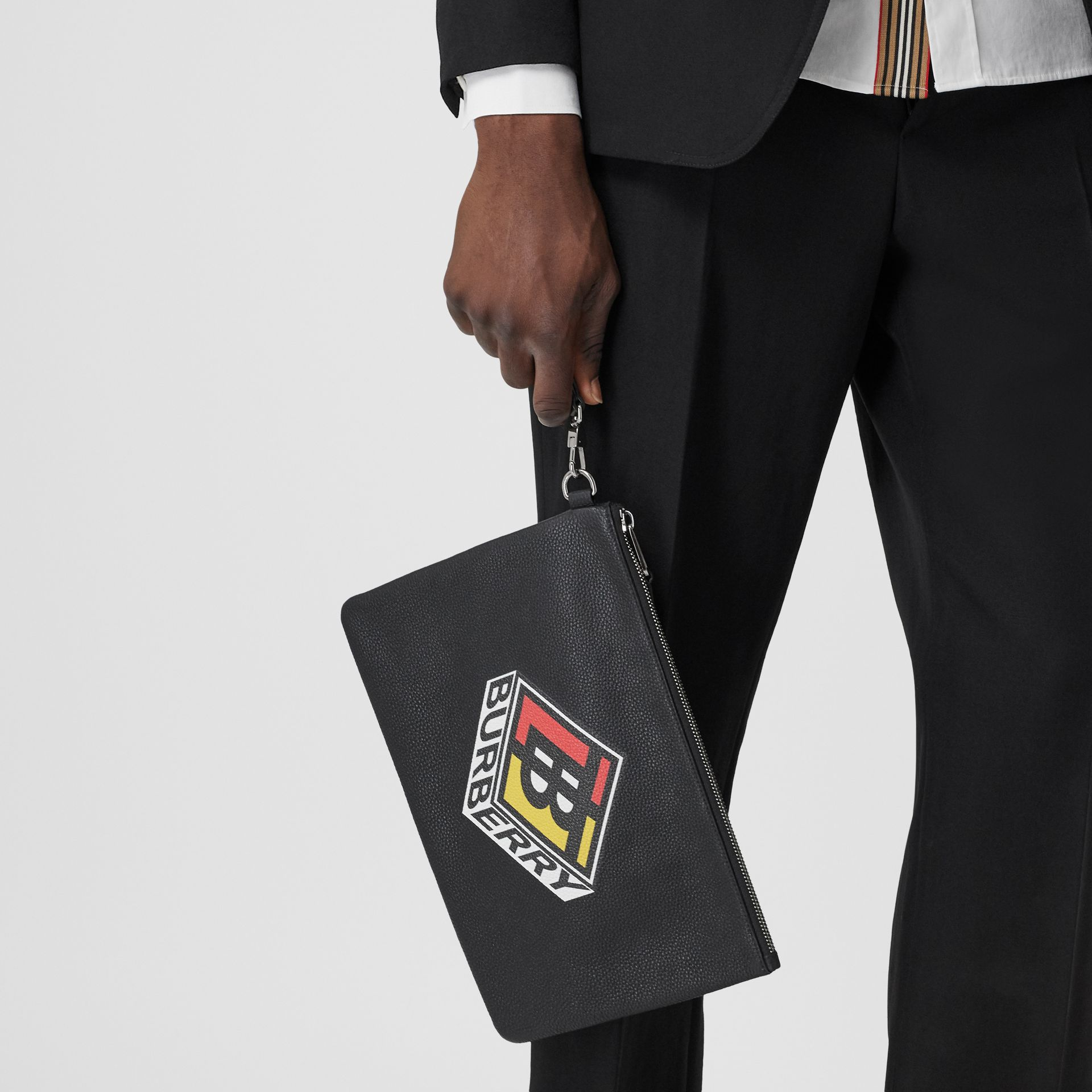 Logo Graphic Grainy Leather Zip Pouch in Black - Men   Burberry United Kingdom - gallery image 2